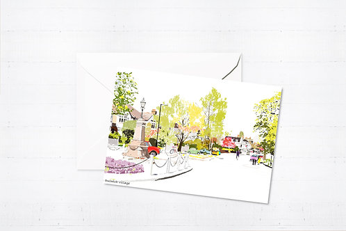 Njeri Illustrated Greeting Card Dulwich Village London City Scene Art Illustration