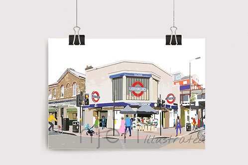 Art Prints, Personalized Art Print, Handmade, Unique Gifts, Gift for Him and Her, London Art, Balham Station, Balham, Tooting