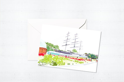 Njeri Illustrated Greeting Card Cutty Sark Tall Ships South London City Scene Art Illustration