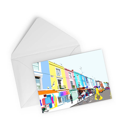 Njeri Illustrated Greeting Card Portobello Road Market Colourful Hipster Bicycle London City Scene Art Illustration
