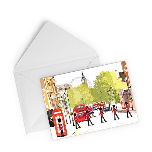 Njeri Illustrated Greeting Card The Royal Guard Whitehall Parliament London City Scene Art Illustration