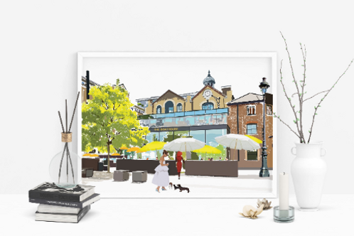 Art Prints, Personalized Art Print, Handmade, Unique Gifts, Gift for Him and Her, London City Art, The Boathouse Putney