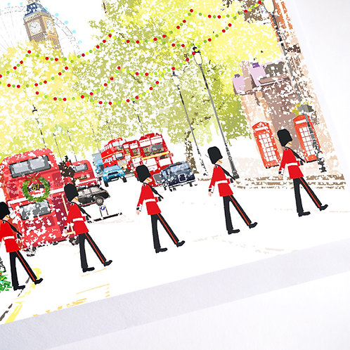 Njeri Illustrated Christmas Holiday Greeting Card Royal Guard London City Art Illustration