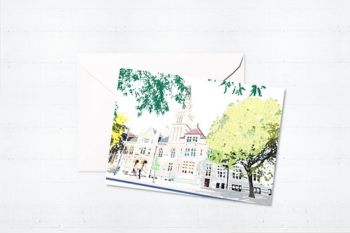 Njeri Illustrated Greeting Card Ealing Town Hall London City Scene Art Illustration