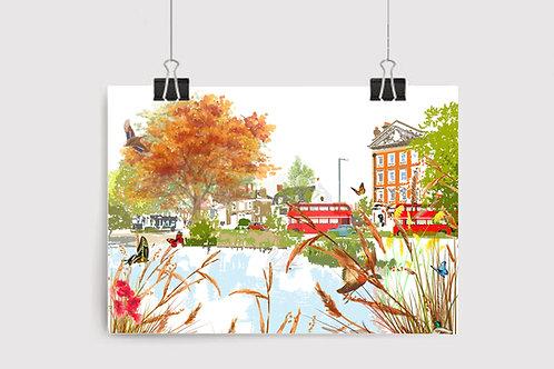 Art Prints, Personalized Art Print, Handmade, Unique Gifts, London Art, Barnes Pond, Bespoke Art, Home Decor, City Art