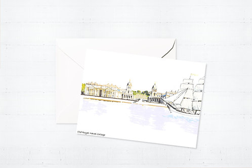 Njeri Illustrated Greeting Card Old Royal Naval College London City Scene Art Illustration