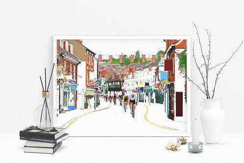 Art Prints, Personalized Art Print, Handmade, Unique Gifts, Farnham Art, Cycling Festival, Bespoke Art, Home Decor