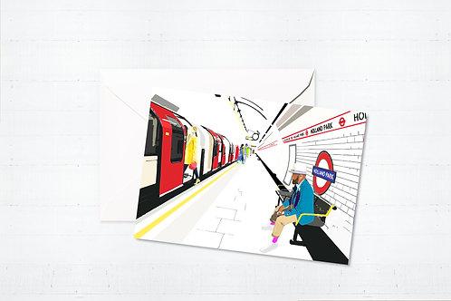 Njeri Illustrated Greeting Card Holland Park Tube Station London Transport City Scene Art Illustration