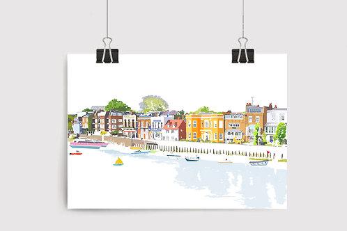 Njeri Illustrated Wall Art Print Chiswick Riverside London Scene Contemporary Modern Design Unique City Illustration