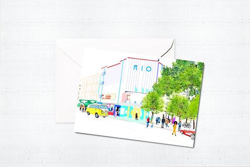Njeri Illustrated Greeting Card Rio Cinema Stoke Newington Hackney London City Scene Art Illustration