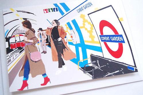 Njeri Illustrated Greeting Card Covent Garden Tube London Transport City Scene Art Illustration