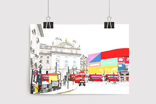Art Prints, Personalized Art Print, Handmade, Unique Gifts, Gift for Him and Her, London Art, Piccadilly Circus, City Art
