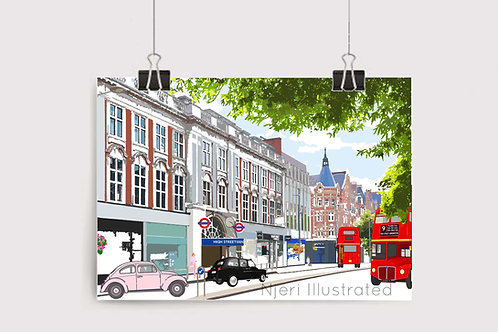 Art Prints, Personalized Art Print, Handmade, Unique Gifts, Gift for Him and Her, London Art, High Street Kensington, Chelsea