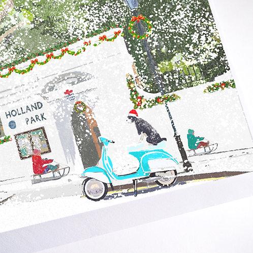 Njeri Illustrated Christmas Holiday Greeting Card Holland Park Sleigh Dog Vespa London City Art Illustration