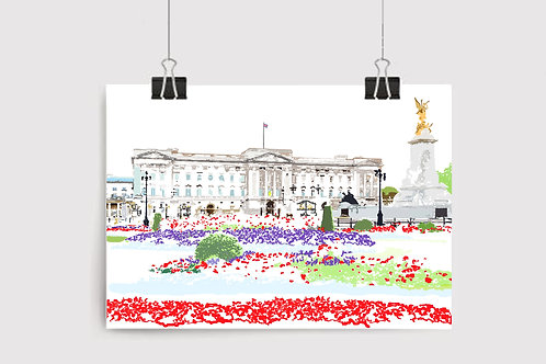 Art Prints, Personalized Art Print, Handmade, Unique Gifts, Gift for Her, London City Art, Buckingham Palace, Royal Family