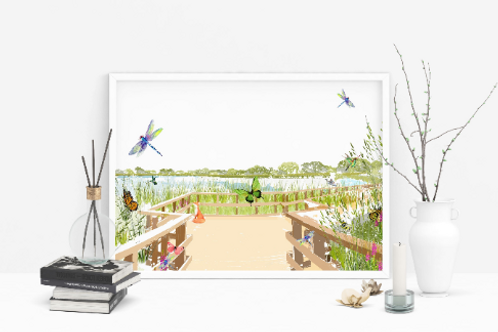 Art Prints, Personalized Art Print, Handmade, Unique Gifts, Stoke Newington Art, Woodberry Wetlands, Home Decor