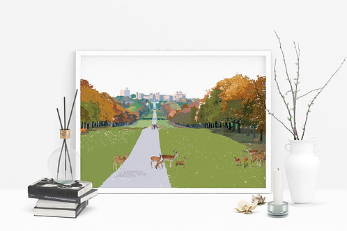 Art Prints, Personalized Art Print, Handmade, Unique Gifts, Windsor Art, The Long Walk Art, Home Decor