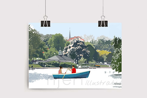Njeri Illustrated Wall Art Print The Serpentine Hyde Park Corner Boating Couple London City Scene Illustration