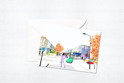 Njeri Illustrated Greeting Card Westbourne Grove London City Scene Art Illustration