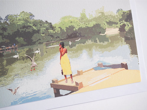 Njeri Illustrated Greeting Card Tooting Bec Common Balham South London City Scene Art Illustration