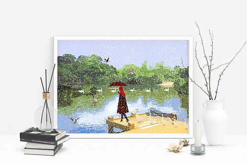 Tooting Bec Common Art Print, Personalized Gift, Bespoke Art, Birthday Gift, London Art, Letterbox Gift, Christmas Gift