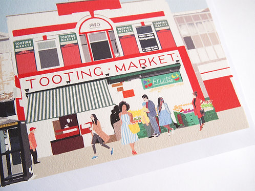 Njeri Illustrated Greeting Card Tooting Market South London City Scene Art Illustration