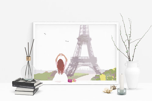 Valentine's Day Art Print, Personalized Art Print, Personalized Gift, Heart in Hand, Paris Art, Gift for Her, Eiffel Tower