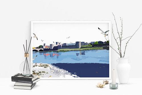 Art Prints, Personalized Art Print, Handmade, Unique Gifts, Isle of Man, St John's Castle, Bespoke Art, Limerick, Home Decor