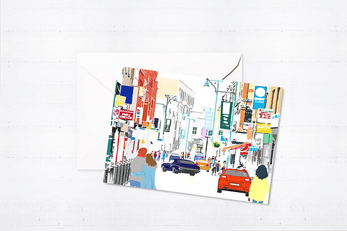 Njeri Illustrated Greeting Card Brick Lane London City Scene Art Illustration