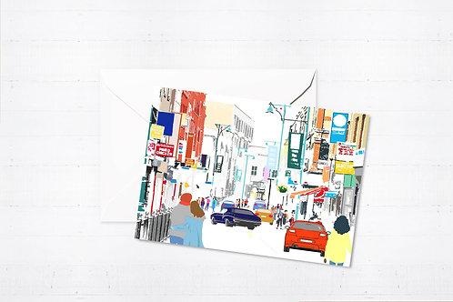 Njeri Illustrated Greeting Card Brick Lane London City Scene Art Illustration