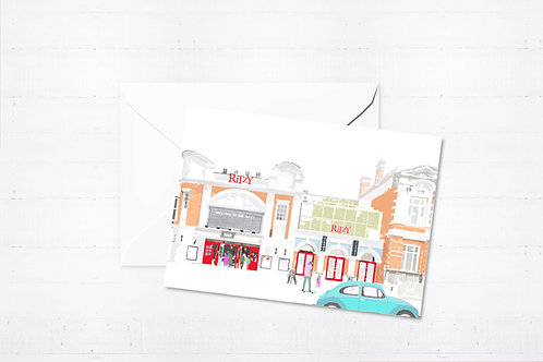 Njeri Illustrated Greeting Card Ritzy Cinema London City Scene Art Illustration