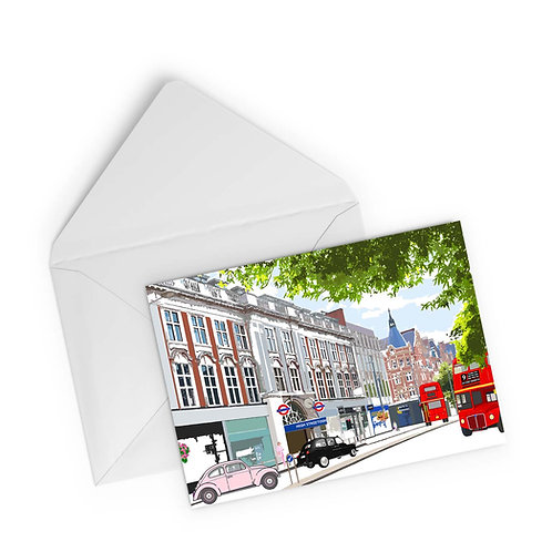 Njeri Illustrated Greeting Card High Street Kensington Shopping Tube London City Scene Art Illustration
