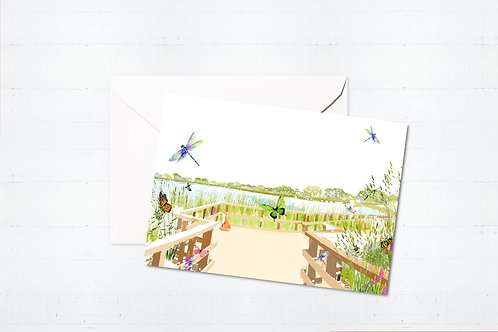 Njeri Illustrated Greeting Card Woodberry Wetlands Stoke Newington Town Hall Hackney London City Scene Art Illustration