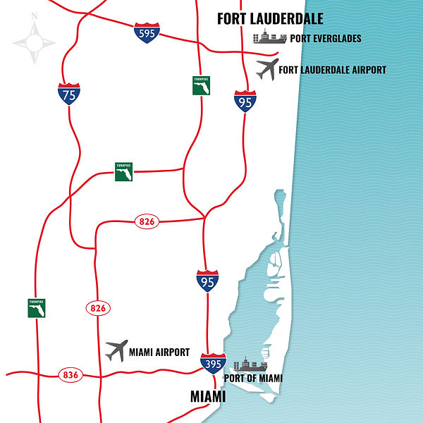 Miami-Dade Map with Landmarks