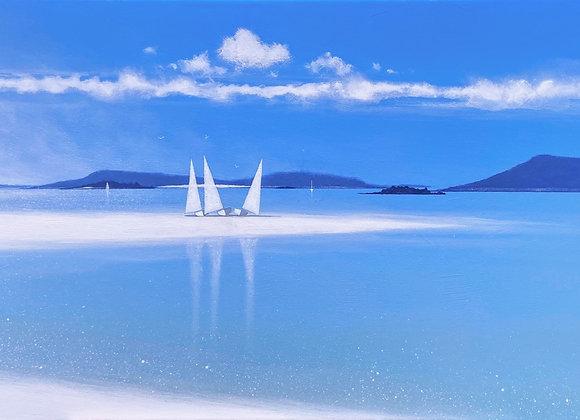 Three sail boats  Tresco sandbar 50 x 100cms