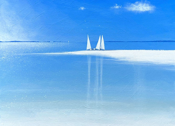 3 sailboats from Samson sandbar 60x60cm