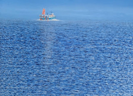 Blue Fishing Boat  100x100cm