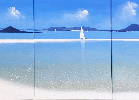 Tresco harbour triptych 12x 36ins