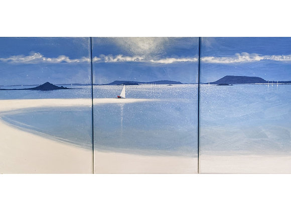 Triptych red boat Tresco harbour 16x36inchs (3 panels of 16x12inchs)