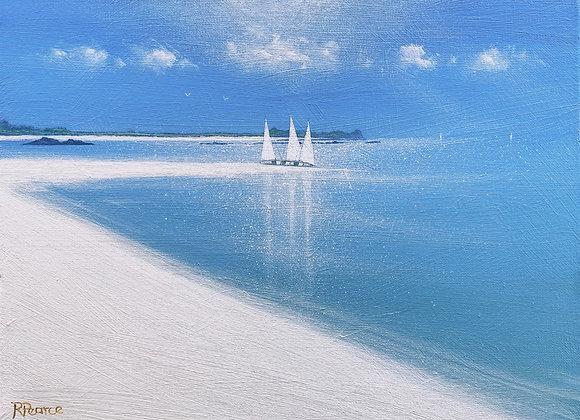 3 sailboats Samson shore 16x12ins