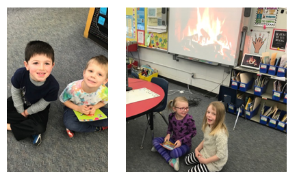"Mrs. Maca's class demonstrated their increasing reading stamina by reading to Mrs. Gersonde's students. They were cozied up to read in front of a mock ""crackling fire!"""