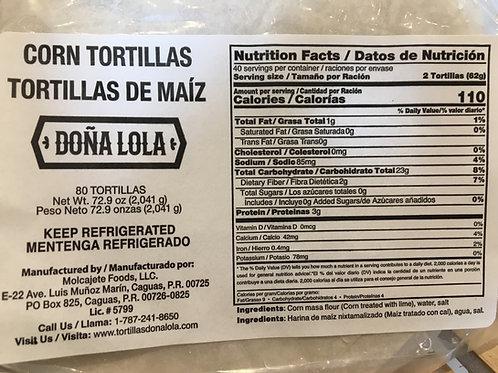 Tortilla de Maiz Blandas - Doña Lola - empaque de 15 tortillas