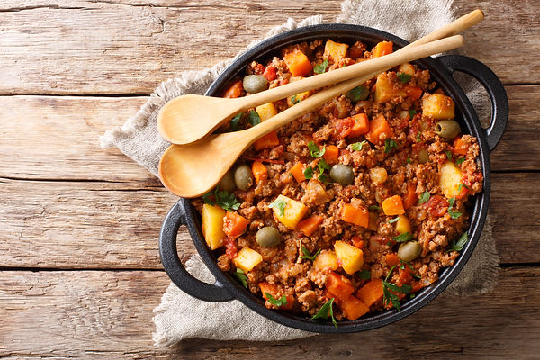 Delicious Picadillo cooked from ground b
