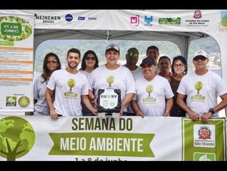 Semana do Meio Ambiente sendo comemoradoem São Vicente com ações de limpeza.