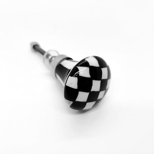 Check Black & White Ceramic Door Knob