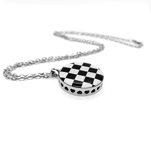 Checkered Necklace Essential Oil Pendant Locket