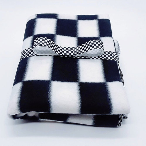 Black and White Checkered Fleece Baby Blanket