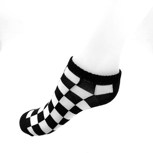 Black Check Ankle Socks