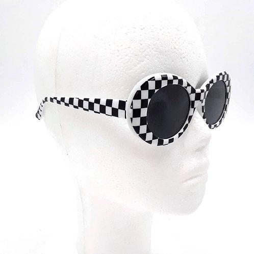 Retro Checkered Oval Sunglasses