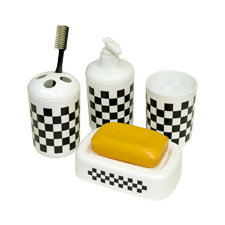 Checkered 4-Piece Bathroom Set